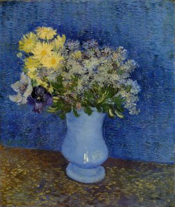 Bouquet of Flowers in a Blue Vase by van Gogh 1887